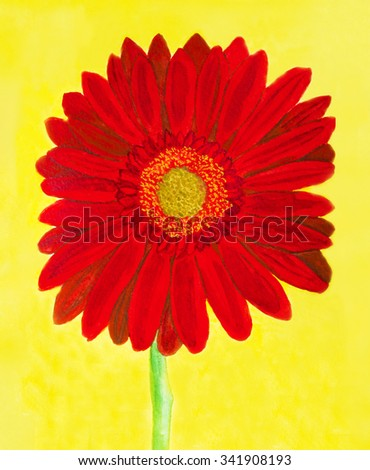 Red gerbera flower on yellow background, watercolor painting. - stock photo