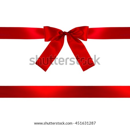 Red gift bow and ribbon on white background with clipping path. - stock photo
