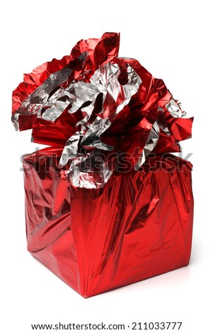 Red gift box on white background - stock photo