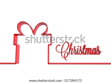 Red gift box outline on a plain white background - stock photo