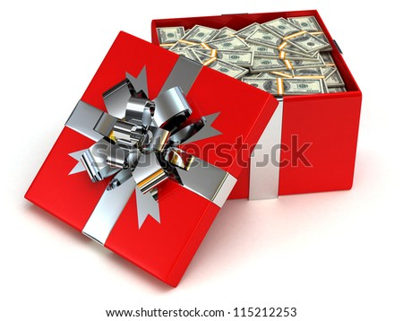 Red Gift box with banknotes of one hundred dollars - stock photo