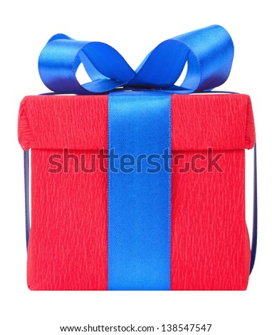 Red gift box with blue ribbon - stock photo