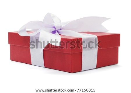 Red gift box with bow ribbon on white background - stock photo