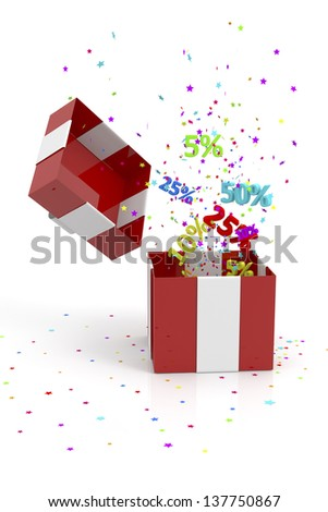 red gift box with discounts and stars - stock photo