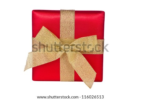 Red gift box with gold bow isolated on white background - stock photo