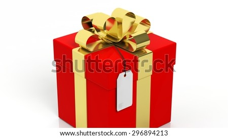 Red gift box with golden ribbon and blank tag isolated on white  - stock photo