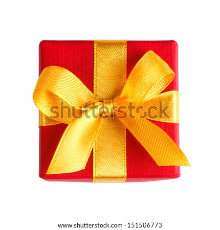 red gift box with golden ribbon and bow isolated on white with clipping path top view - stock photo
