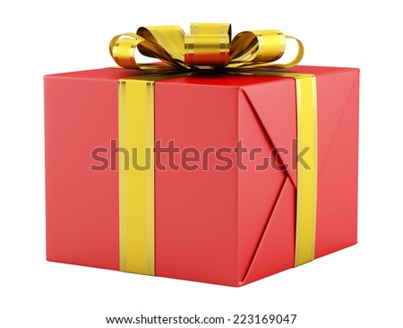 red gift box with golden ribbon isolated on white background - stock photo