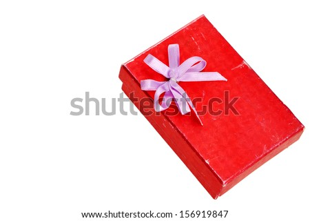red gift box with lid and bow on a white background - stock photo