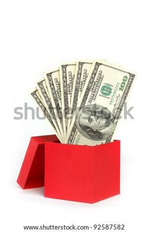 Red gift box with money - stock photo