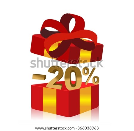 red gift box with 20 percent discount inside - stock photo