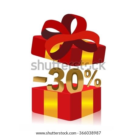 red gift box with 30 percent discount inside - stock photo