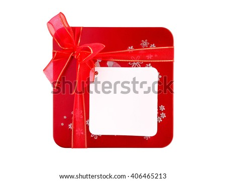 Red gift box with ribbon and blank note tag isolated on white background - stock photo
