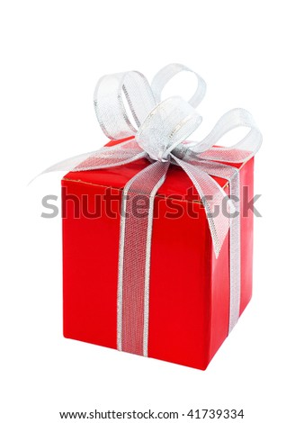 Red gift box with silver ribbon bow, isolated on white - stock photo