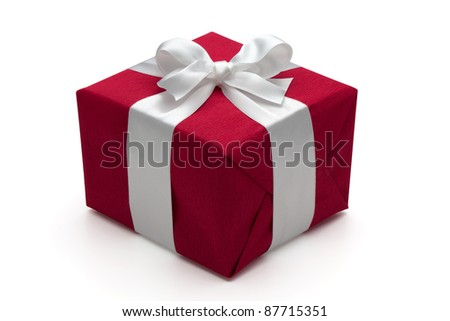 Red gift box with white  ribbon and bow, isolated on the white background, clipping path included. - stock photo