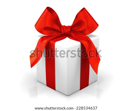 red gift 3d - stock photo