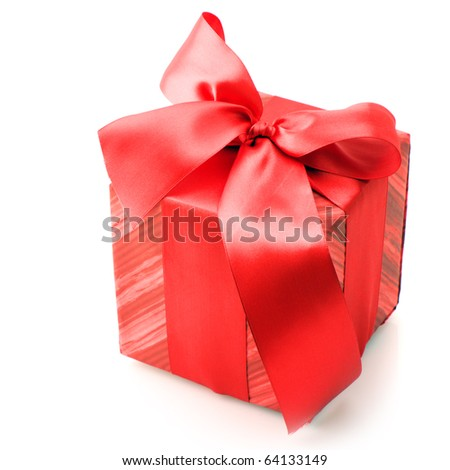 Red gift isolated on white background. - stock photo
