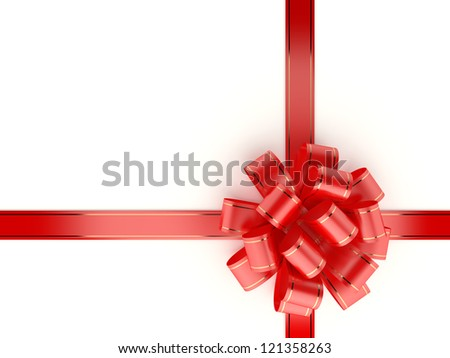 Red gift ribbon and bow isolated on white background. Computer generated image with clipping path. - stock photo
