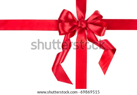 Red Gift Ribbon Bow - stock photo
