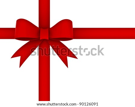 Red gift ribbon bow isolated on white background - stock photo