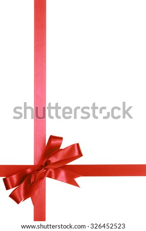 Red gift ribbon bow isolated on white background vertical - stock photo