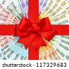 red gift ribbon bow over euro banknotes. european currency. money background. shopping gift card concept - stock photo