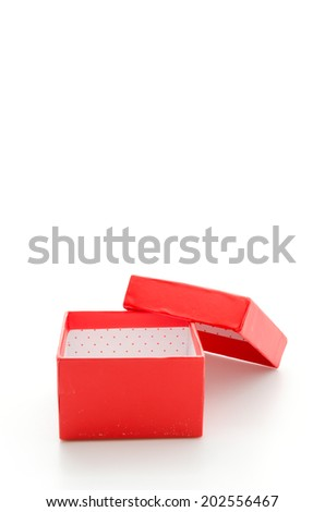 Red giftbox isolated on white - stock photo