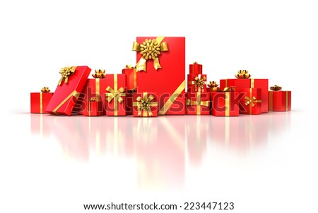 Red gifts with golden bow and ribbons on white background . Christmas or Birthday 3d illustration. - stock photo