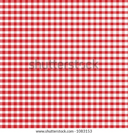 Red Gingham - Digitally Created with slight fabric texture - stock photo