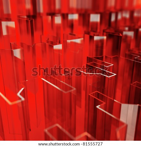 red glass acute angled abstraction as a background - stock photo