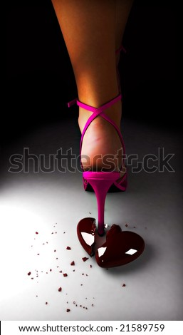 Red glass broken heart by high heel - stock photo