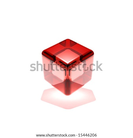 red glass cube rotated - stock photo