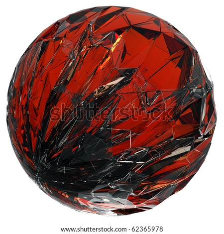 red glass sphere (isolated) - stock photo