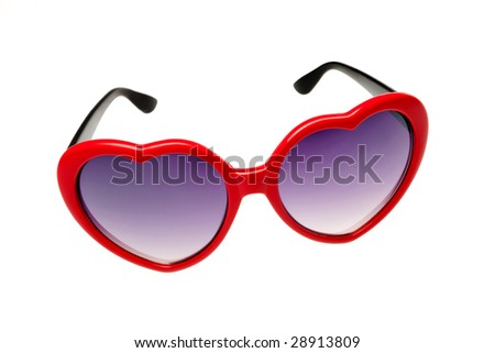 Red glasses in the shape of a heart on a white background - stock photo