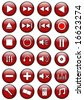 Red Glossy Media Buttons - stock photo