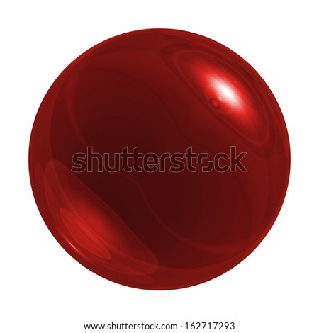 Red glossy sphere on white background - stock photo
