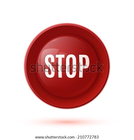 Red glossy stop button icon - stock photo
