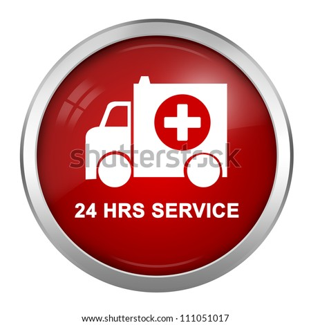 Red Glossy Style 24 HRS Service Sign, Ambulance Car With Cross Sign Inside Isolate on White Background - stock photo