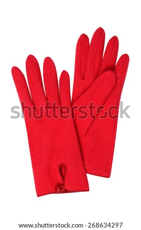 Red gloves isolated on white - stock photo