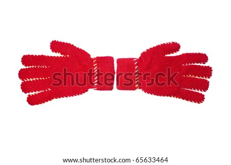 red gloves isolated on white background - stock photo
