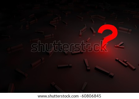 red glow question sign - stock photo