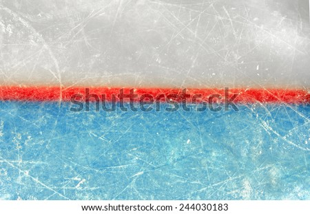 Red goal line on ice rink. Top View - stock photo