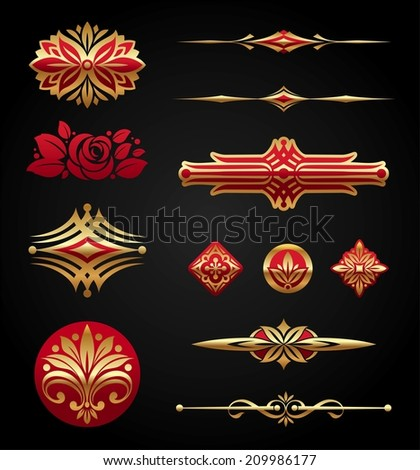 Red & gold luxury design elements - stock photo