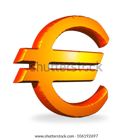 Red golden euro symbol isolated over a white background - stock photo