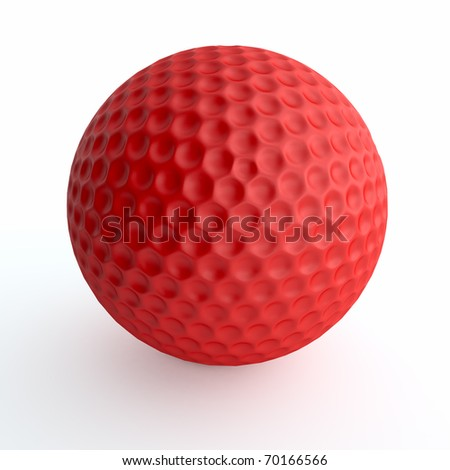 Red golf ball isolated on white - stock photo