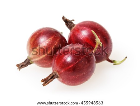 Red gooseberries isolated on white background - stock photo