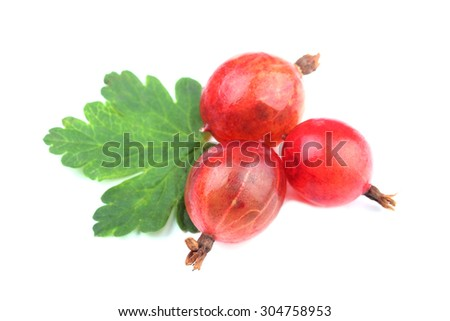 Red gooseberry fruit with leaf isolated on white  - stock photo
