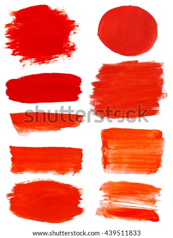 red gouache stains set isolated on white - stock photo