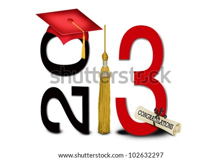 red graduation cap with gold tassel for class of 2013 - stock photo