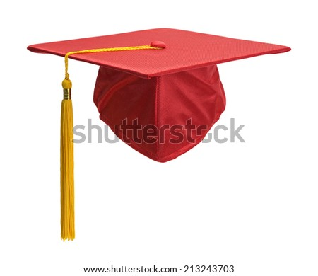 Red Graduation Hat with Gold Tassel Isolated on White Background. - stock photo
